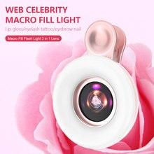 Portable Selfie LED Ring Flash Light Universal Mobile Phone Fill Light 15X Macro Lens Phone Selfie Lamp Ring Clip Light