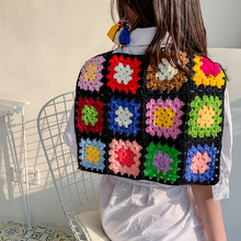 Customize Handmade Crochet Flower Hollow Ethnic Color Knitted Braided Shawl Scarf Geometric Weave