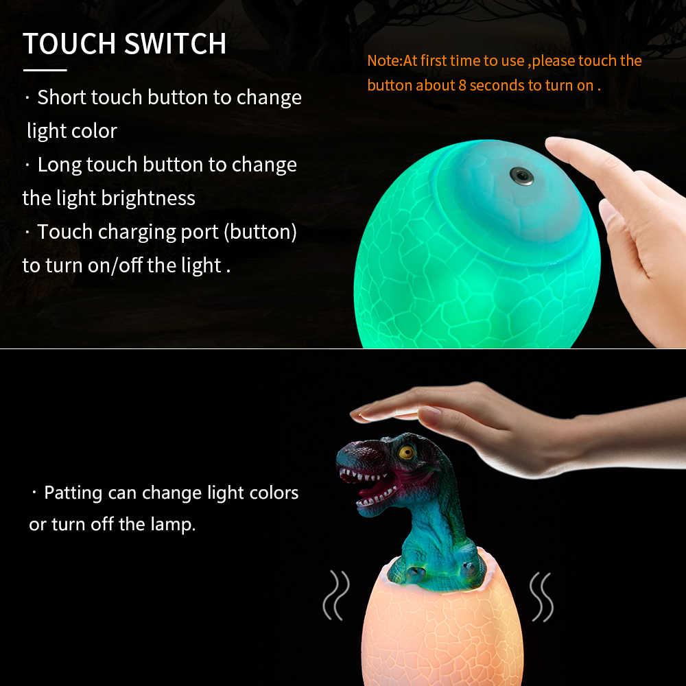 3D Khủng Long Đèn Rex Đèn Ngủ Có Chân Đế Từ Xa & Pat & Điều Khiển Cảm Ứng Sạc 16 Màu Sắc Quà Tặng Sinh Nhật Cho bé Trai Bé Gái