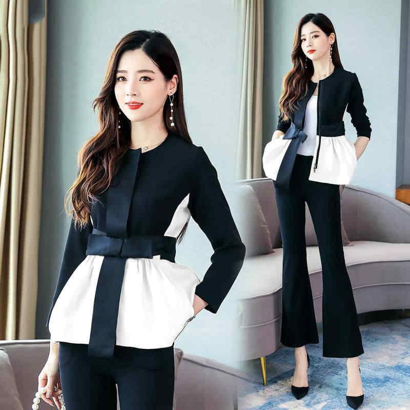 2020 봄 한국어 우아한 흑백 패치 워크 2 조각 세트 여성 패션 여성 의상 플러스 사이즈 의류