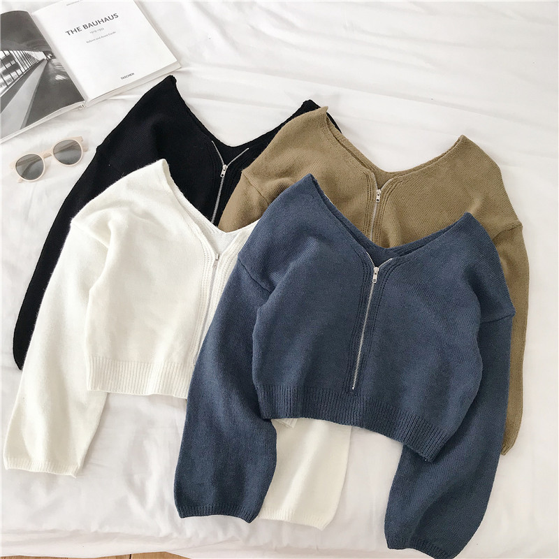 Long Sleeve`Winter Tops For Women Casual Chic Zipper Knitted Sweater Women White Black Korean Short Sweaters Womens 2019 Autumn