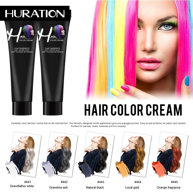Huration New Hair Girls Beauty Hair 9 Colors Hair Color Hair Dye Non-toxic DIY Hair Color Dye Cream Blue Grey Purple Hair Dye