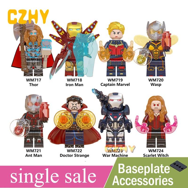 Single Endgame Iron Man Thor Captain Marvel Ant Man Wasp Doctor Strange War Machine Scarlet Witch Building Blocks Toys WM6063