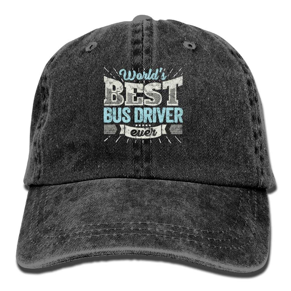 Worlds Best Bus Driver Ever Funny Gift Denim Hat Adjustable Unisex Baseball Cap image