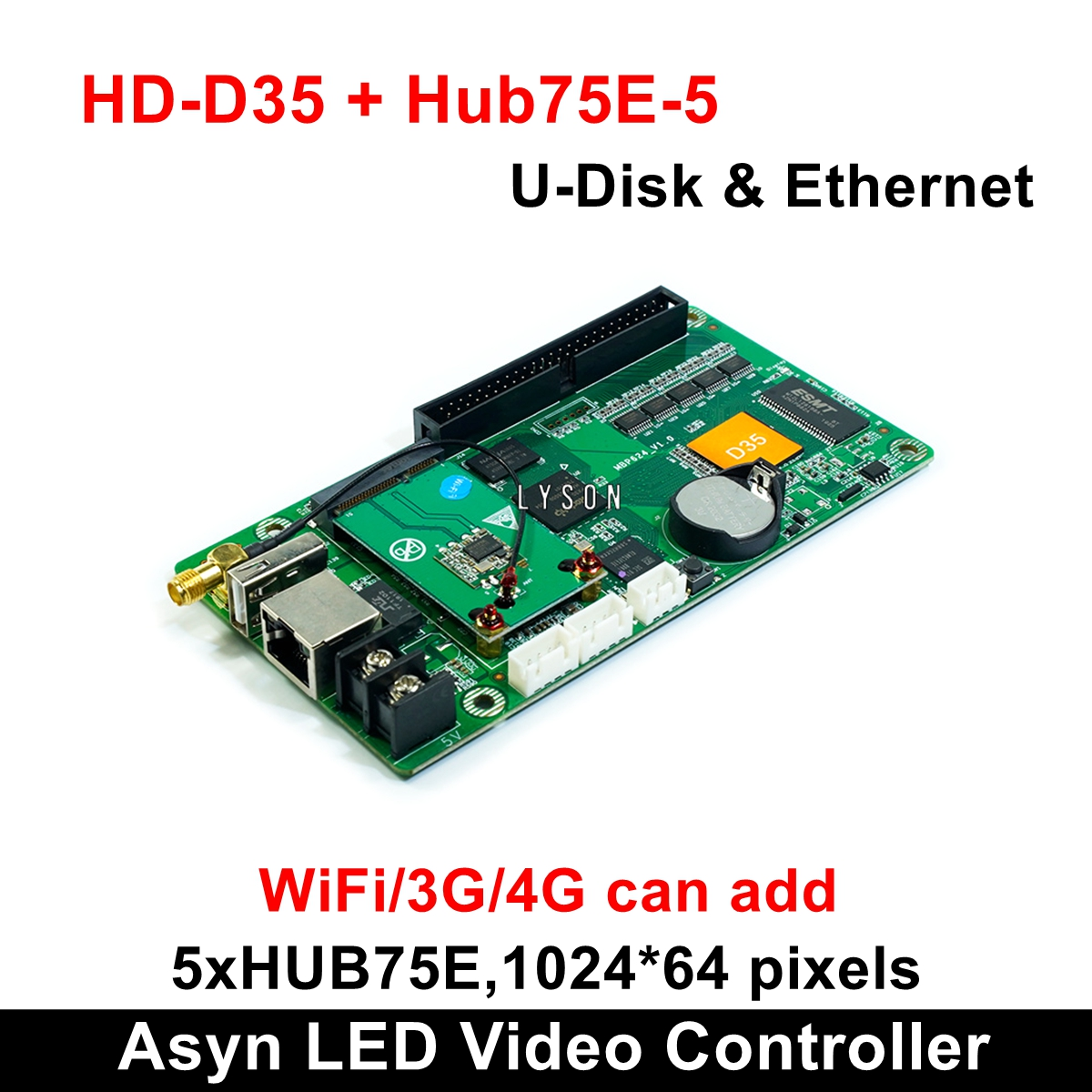 Huidu HD-D35 Asynchronous Full-color LED Video Control Card Support 1024*64 Pixels Smart Setting Work With P2 P3 P4 P5 Module