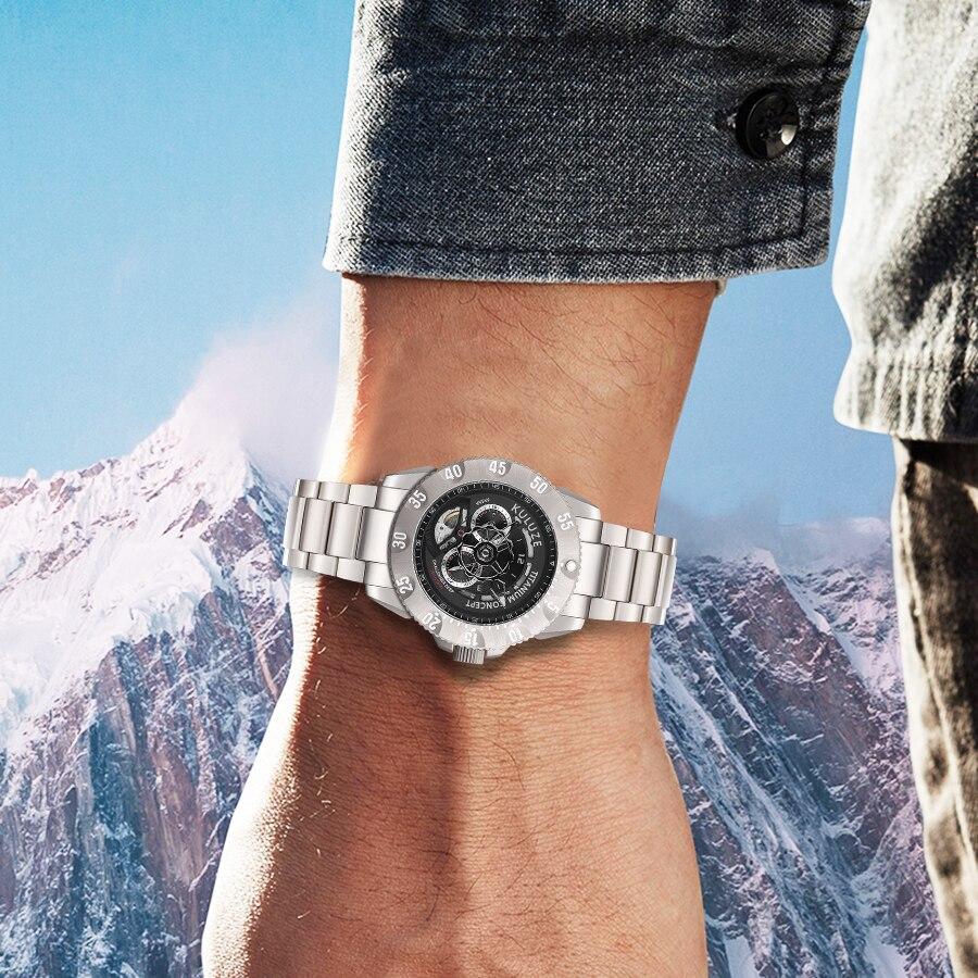 Kuluze titânio relógio masculino automaticmecânico topo relógio