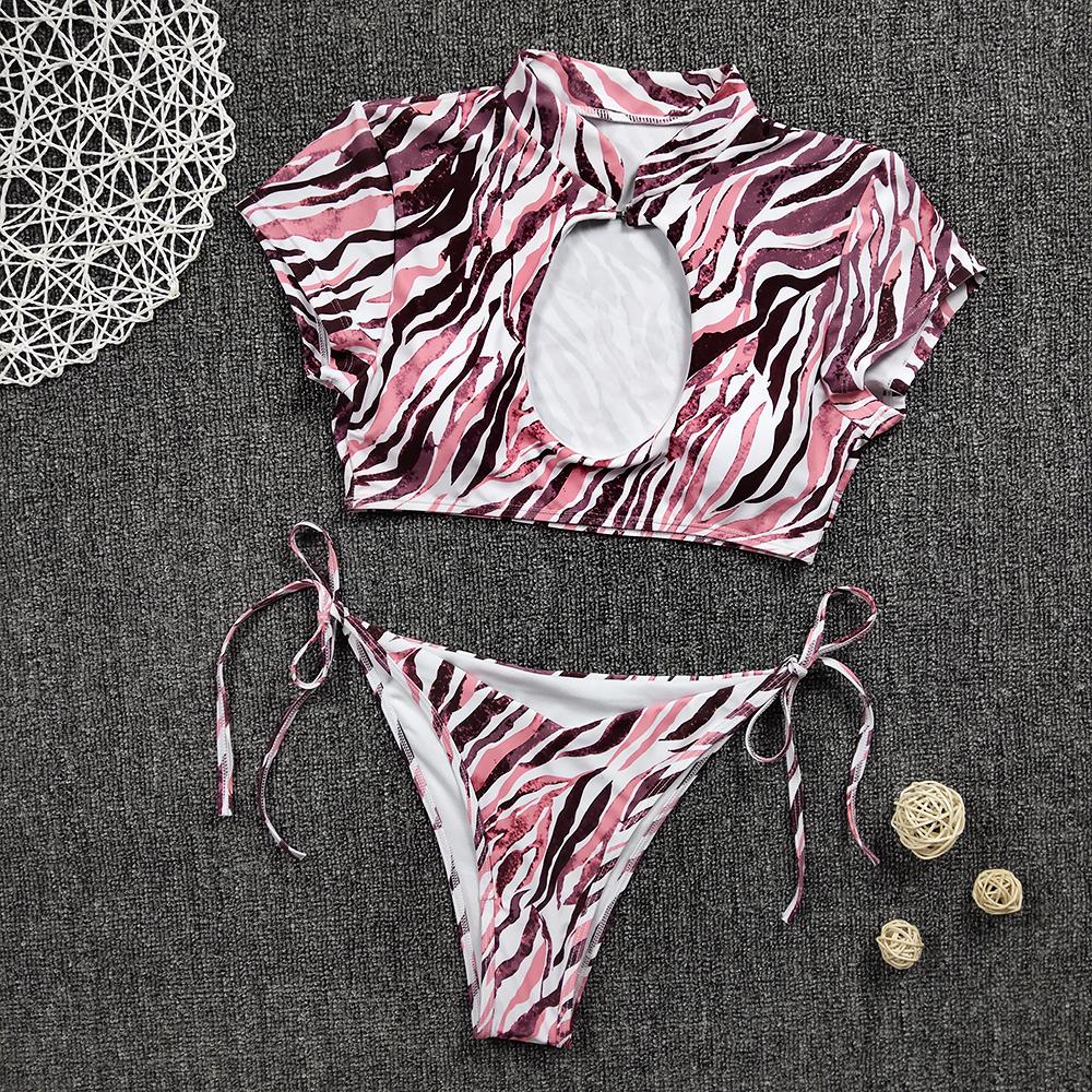 Женский комплект бикини с полосками зебры, пуш-ап, бюстгальтер с подкладкой, бандаж, купальник, высокая талия, женский купальник, стильный пл... 18