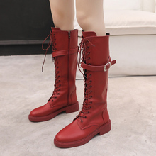 2019 New Western Boots Cowboy Women Autumn Martin Over The Knee Platform Red Black White Flat Heel