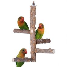 Toy Stand Support-Holder Training-Supplies Bird Parrots Small Swing Wood Bell C42 Perch