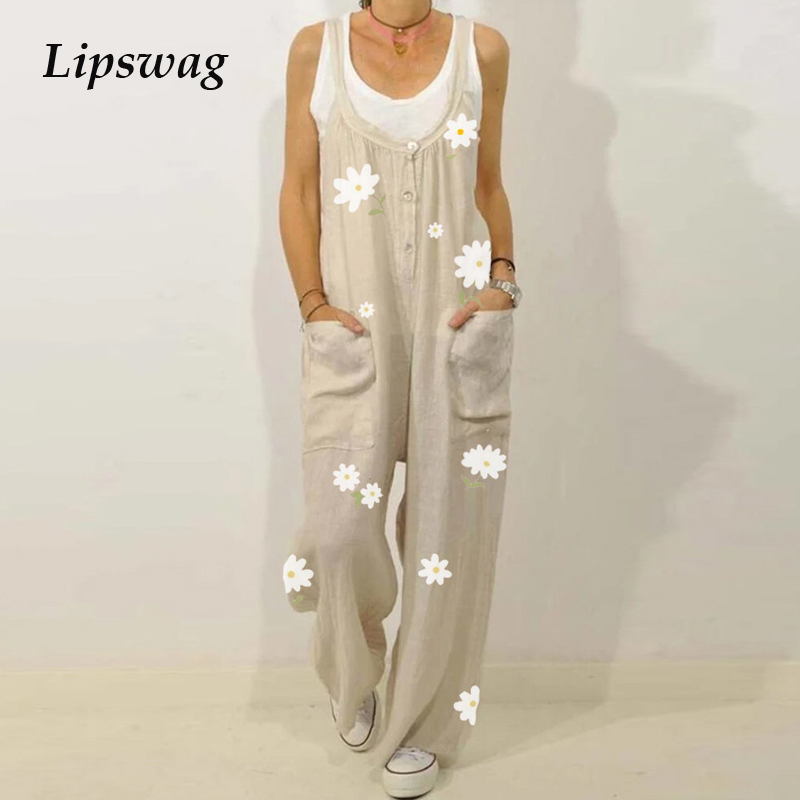 Retro Flower Print Cotton Linen Jumpsuit Summer Elegant Button Strappy Backless Bodysuit Sexy Pocket Loose Women Trousers Romper