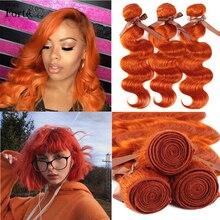 Remy forte loira cabelo humano tecer feixes cabelo brasileiro laranja onda do corpo pacotes de cabelo humano 100% remy cabelo único pacotes negócio