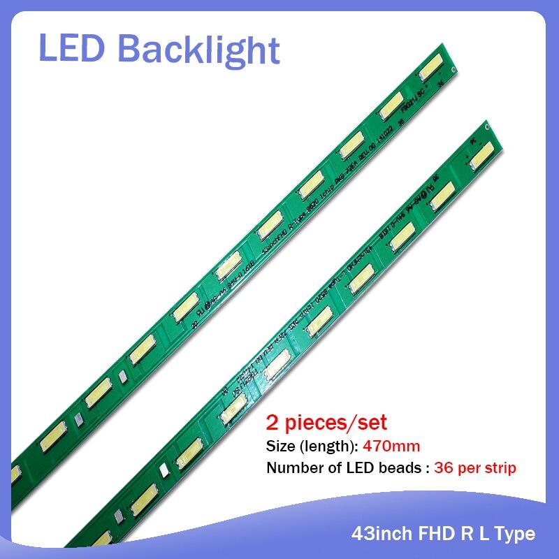 New 2pieces/set 36LED 47cm LED Strip For LG 43LF5400 43LF5900 MAK632C7801 G1GAN01-0794A G1GAN01-0793A 43inch FHD R L Type