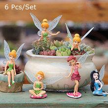 6 uds. De Hada de las flores Pixie, ala voladora, adorno Artificial en miniatura para jardín, decoración artesanal para el hogar