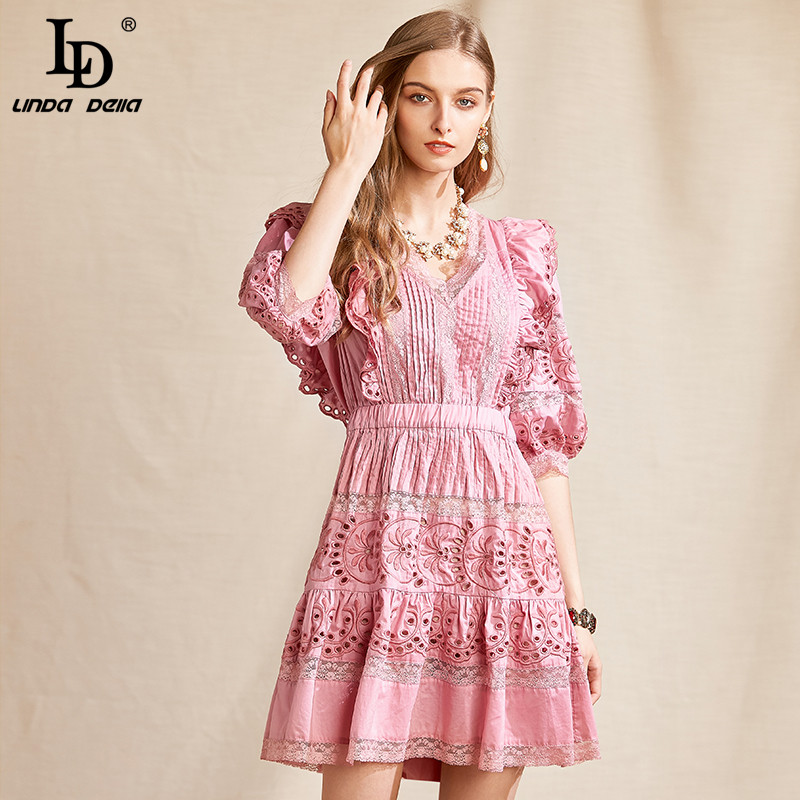 Ld Linda Della Summer Fashion Designer Hollow Out Embroidery Short Dress Women Sexy V Neck Solid Vintage Ladies Mini Dresses Dresses Aliexpress