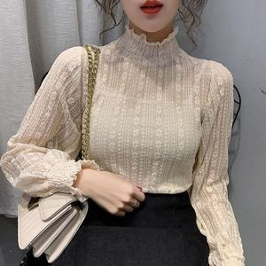 Fashion Women Lace Mesh Blouses 2020 Elegant See Through Sexy Stand Collar Autumn Winter Bottoming Long Sleeve Ladies Tops