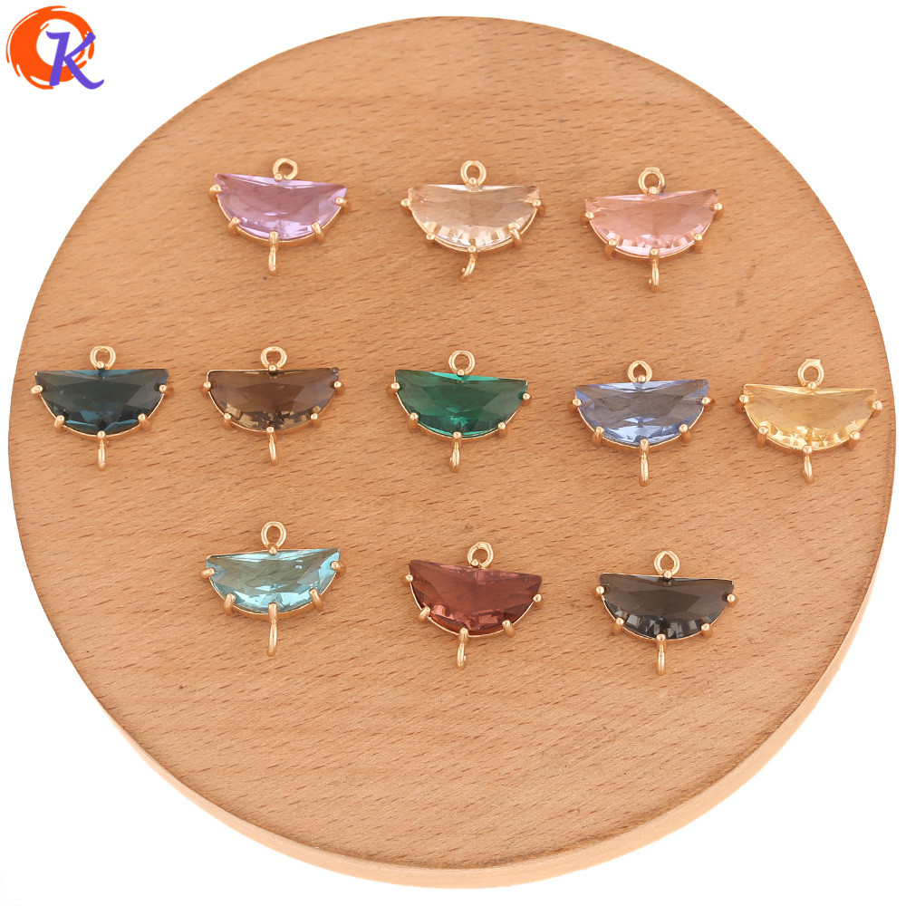 Cordial Design 50Pcs 14*16MM Jewelry Accessories/DIY Making/Crystal Connectors/Semicircle Shape/Hand Made/Earring Findings