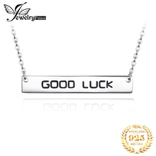 JewelryPalace Engraved GOOD LUCK Silver Pendant Necklace 925 Sterling Silver Chain Choker Statement Collar Necklace Women 45cm jewelrypalace dog paw cz sterling silver pendant necklace 925 sterling silver chain choker statement collar necklace women 45cm