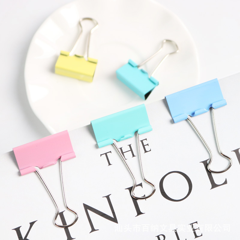 Boxed Color Binder Clip Folder Dovetail Clip Ticket Clips Large Size Medium Small Students Test Paper Covered Edge Clip