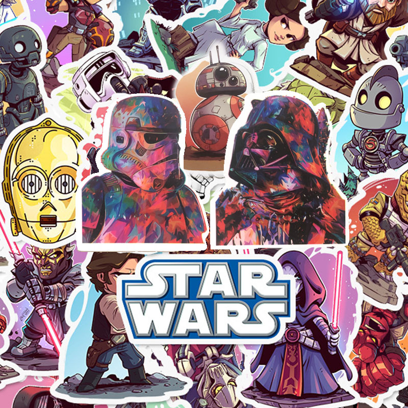 50 PCS STAR WARS Stickers Pack Movies Character Sticker For DIY Skateboard Motorcycle Luggage Laptop Cartoon Sticker Sets image