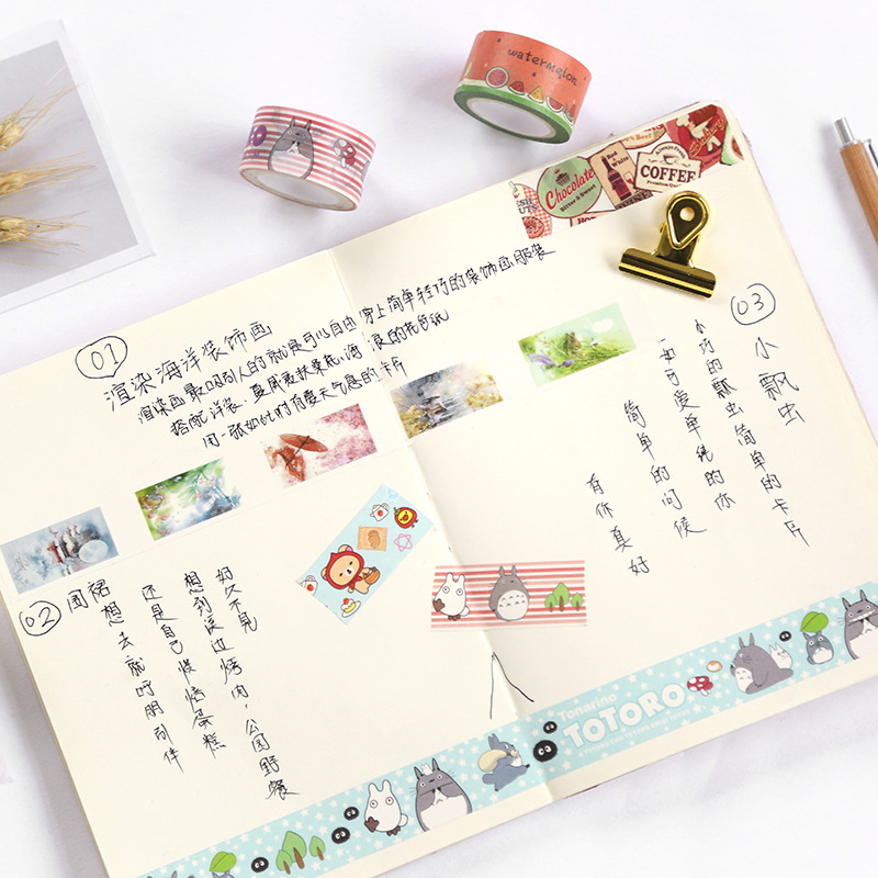 20mm Cute Washi Tape Japanese Totoro Rilakkuma Decorative Tape Flowers Sumikko Gurashi Scrapbooking Kawaii Grid Adhesive Tape 3