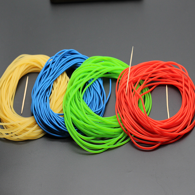 Diameter 2mmRubber Line  Solid Elastic Rubber Line High Quality Natural Green Blue Clolor And Red Color Fishing Rope