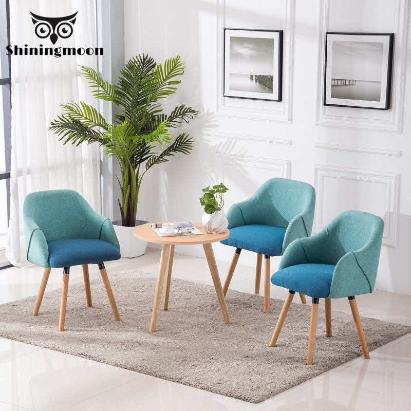 Nordic Wooden Fabric Chair Restaurant Dining Upholstered Chair Living Room Kitchen Cafe Dining Chairs Home Art Set of Chairs