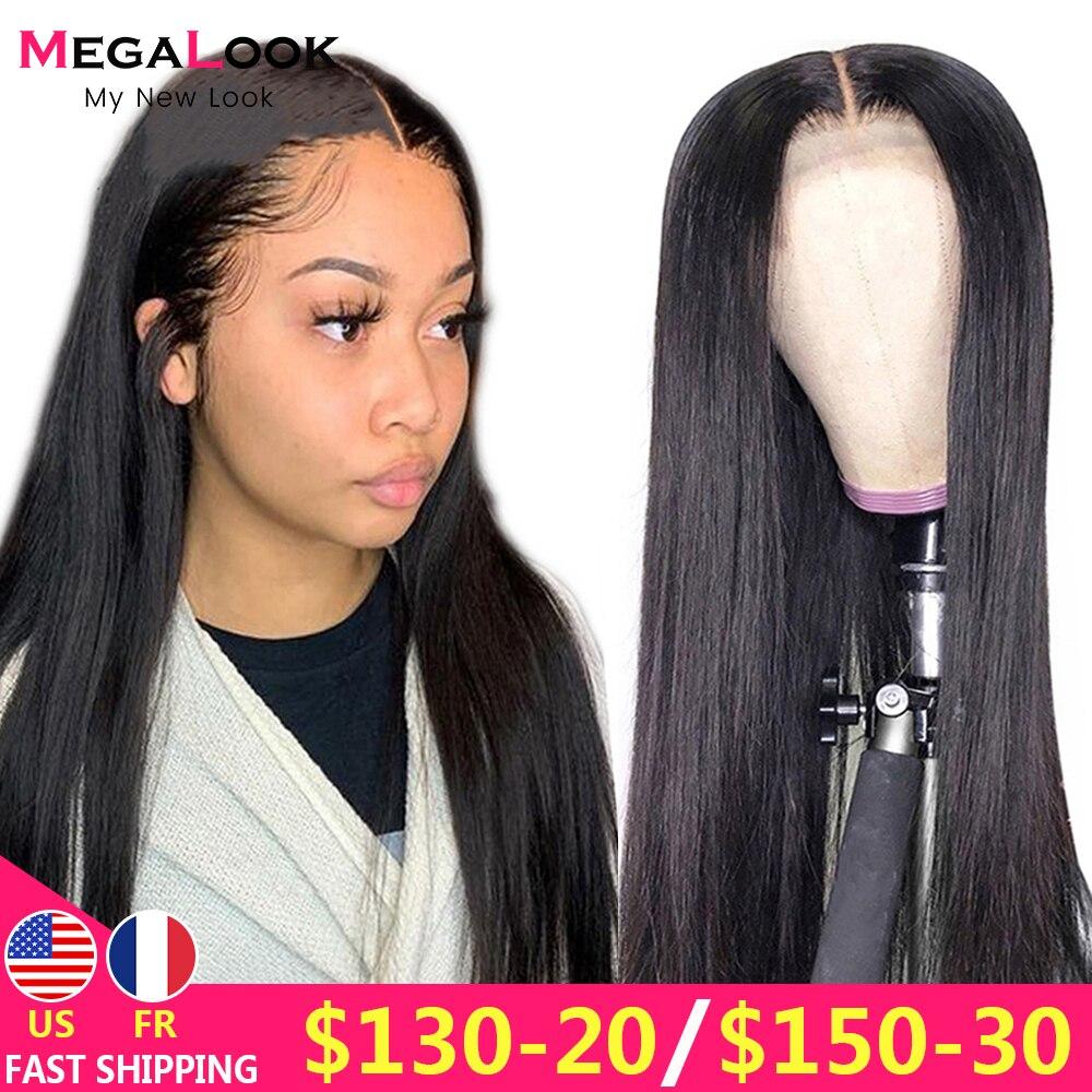 Fechamento do laço peruca 4x4 encerramento peruca reta peruca dianteira do laço 180 remy 30 polegada peruca do laço peruca brasileira do cabelo humano fechamento do laço peruca
