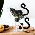 250ML Nette Katze Glas Saft Kaffee Tasse Milch Tee Kaffee Glas Becher Katze Schwanz Griff Katze Valentinstag liebhaber Geschenke Edelstahl Löffel