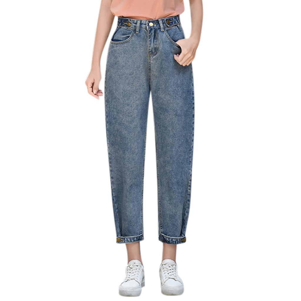 SAGACE Fashion Women Casual Loose Trousers Jeans Pant Ankle -Length Pant Ladies Casual Loose Harlan Denim Cropped Pants Straight