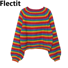 цены Flectit Harajuku Rainbow Striped Sweater Cropped Oversized Crew Neck Long Sleeve Cozy Knit Pullover Sweater Women Fall Winter *