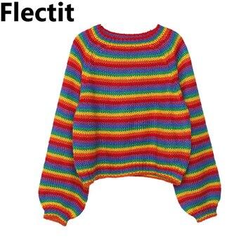 Flectit Harajuku tęczowe paski sweter przycięte ponadgabarytowe wycięcie pod szyją z długim rękawem przytulny dzianinowy sweter sweter kobiet jesień zima *