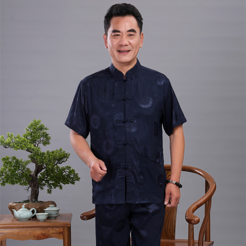 Chinese Dragon Wu Shu Uniform Tai Chi Clothing Short Sleeve Shirt+Long Pant Sets Men Satin Kung Fu Suit Plus Size 4XL