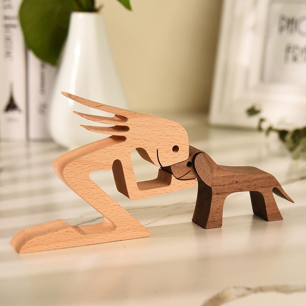 Decoração de mesa de madeira estátua escultura do cão artesanato estátua de madeira para decoração de casa estatuetas miniaturas ornamentos de mesa