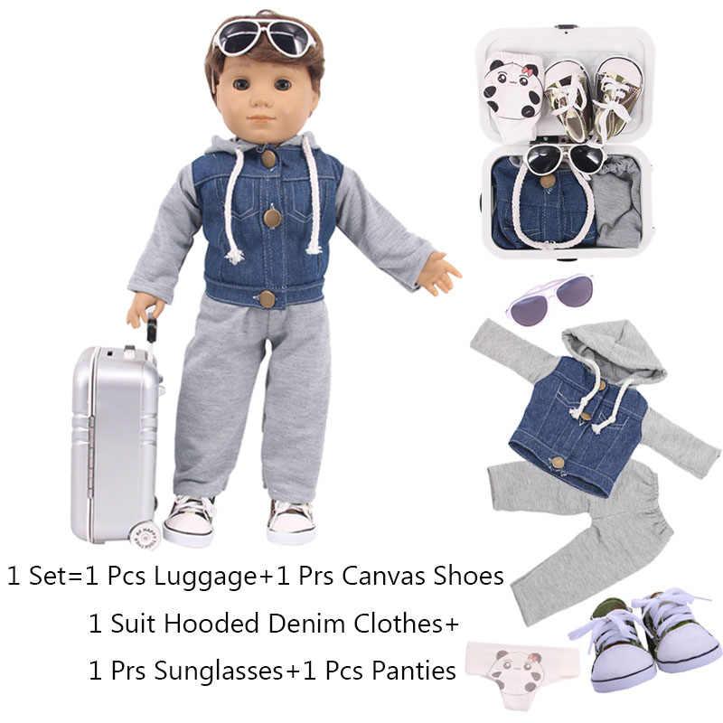 Roupa da boneca 5 pçs/set = Mala + Ballet/Denim Ternos + Sapatos + Calcinha + Mini Tablet Para 18 Polegada American & 43 Cm Novo Bebê Nascido Boneca da Menina