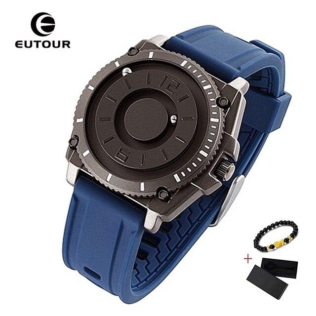 2020 New EUTOUR Black Magnetic Watch Men Fashion Silicone Watches Men Quartz Magnet Ball Waterproof Sport Men's Watches