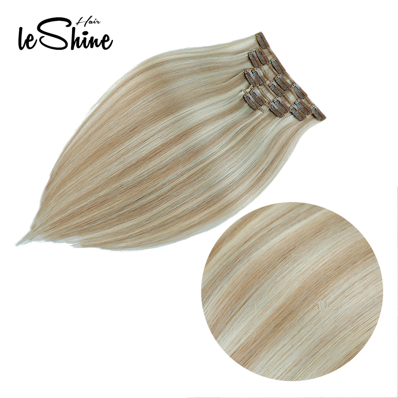 Human-Hair-Extensions Ash-Blonde Clip-In Remy Straight Silky Leshine Double-Drawn 7pcs/Set title=