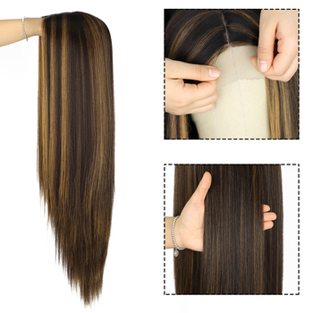 EXQUISITE Honey Blonde Highlight Colour Wig : Long Straight Style.