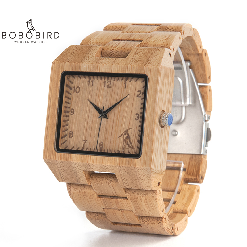 BOBO BIRD Wood Watches Men High Quality Bamboo Watch Men Luxury Square Quartz Analog Clock Relogio Masculino V-L22