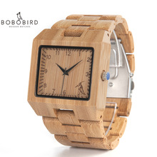 BOBO BIRD Wood Watches Men High Quality Bamboo Watch Men Luxury Square Quartz Analog Clock relogio masculino V L22