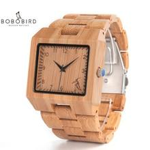 ボボ鳥ウッド高品質竹腕時計メンズ高級正方形の石英アナログ時計レロジオ masculino V L22