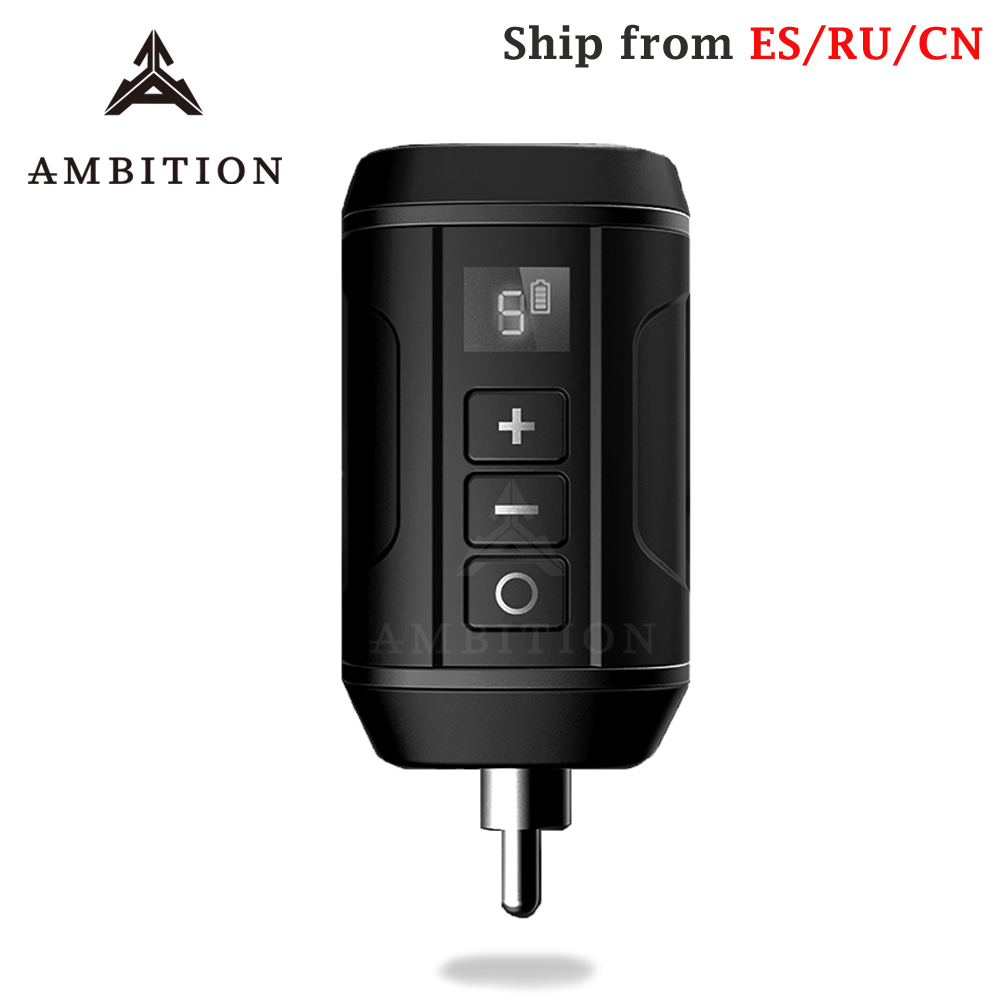 Ambition Wireless Battery Tattoo Power Supply For Machine Pen RCA AUDIO Connector Supplies For Tattoo Pen Fast Charger Battery