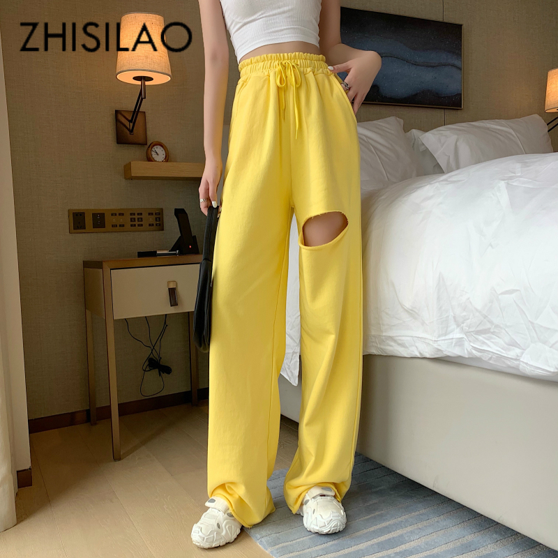 Street Cargo Pants Women Loose Wide Leg Straight Trousers Mujer Solid Hip Hop Ripped Pants High Waist Summer 2020 Casual Pants