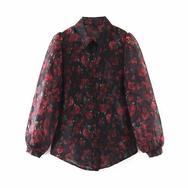 Women Elegant Floral Print Organza Blouse Shirt Lantern Long Sleeve Stylish Blouses Casual Turn Down Collar Chic Shirt Tunic
