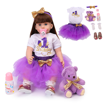 Fashion 60 cm Reborn Baby DOLL lifelike Realistic Silicone Babies Newborn Cute Dolls with Brown hair blue eyes  Bonecas Toys for