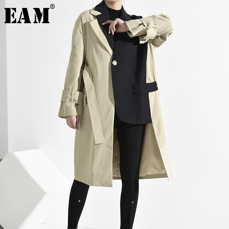 [EAM] Women Khaki Asymmetrical Split Big Size Trench New Lapel Long Sleeve Loose Fit Windbreaker Fashion Spring 2020 1K91204