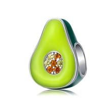 925-Sterling-Silver Jewelry Fruit-Charm Silver Bracelet Enamel Original Green Avocado