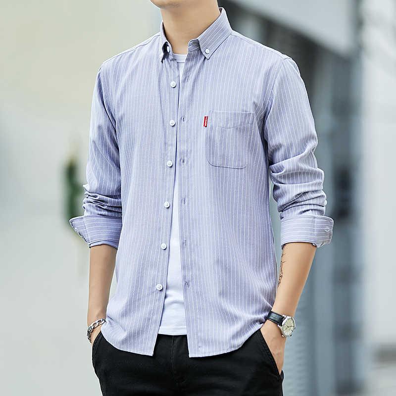 Hoge Kwaliteit Heren Business Casual Lange Mouwen Mannen Button Shirt Klassieke Gestreepte Slim Fit Mannelijke Sociale Mannen Dress Shirts uitloper