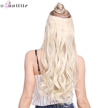 SNOILITE Fall to waist Long Curly Synthetic Clip in one piece Hair Extensions Half Full Head Hairpiece with 5 clips Black Brown