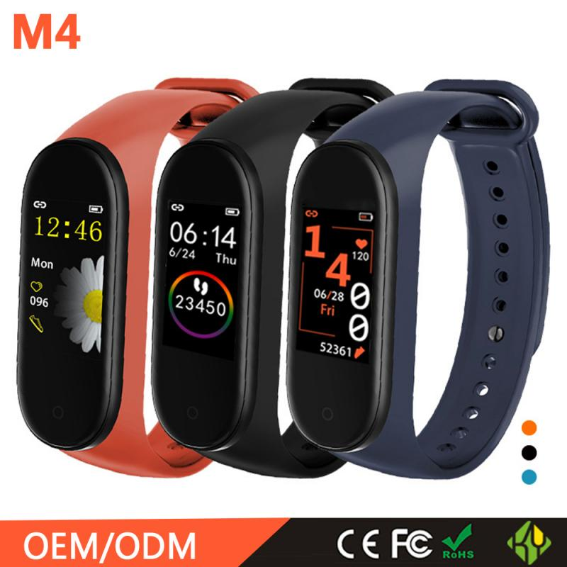 M4/M4 Plus Smart Pedometer Band Color Screen Fitness Running Walking Tracker Sport Bracelet Heart Rate Blood Pressure Monitor