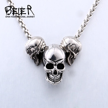 Beier 316L stainless steel Unique design punk skull biker pendant necklace high quality jewelry LLBP8216P beier stainless steel biker jason voorhees hockey halloween mask pendant necklace with red colour antique cool jewelry bp8 362